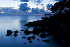 Twilight. Blue twilight in the sea Royalty Free Stock Photo