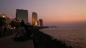 Twilight above the seaside in Mumbai. stock video