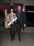 Twilight actress Nikki Reed at LAX with husband Stock Photos