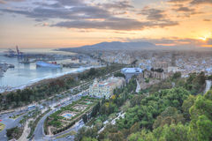 Malaga aerial view at sunset Stock Image