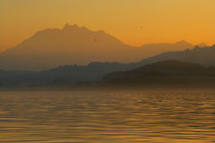 Twilight alps. Sunset twilight over Lake Zug in Switzerland royalty free stock photos
