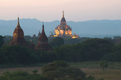 Twilight in ancient Bagan. A view of the top of the temple Gawdaw Palin. Myanmar Royalty Free Stock Photos