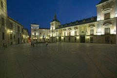 Twilight in area near Royal Palace in Madrid, Spain Royalty Free Stock Images