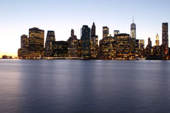 Twilight as the sun sets over Lower Manhattan. Famous New York l Stock Photography