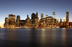 Twilight as the sun sets over Lower Manhattan. Famous New York l Royalty Free Stock Images