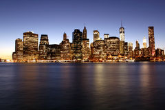 Twilight as the sun sets over Lower Manhattan. Famous New York l Royalty Free Stock Image