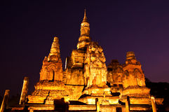 Twilight At Sukhothai Historical Park,Thailand Stock Image