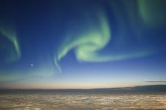 Twilight Aurora Borealis. Northern lights over twilight horizon Royalty Free Stock Photos