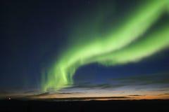 Twilight with auroral arc. Twilight sky with green auroral arc Royalty Free Stock Photos