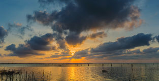 Twilight The bamboo coop for feeding fish. In south of Thailand sea. Songkhla, Koh-Yor Royalty Free Stock Photos