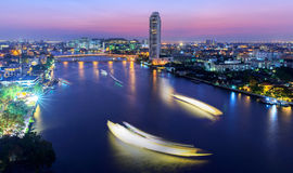 Twilight in Bangkok and Chopraya river.