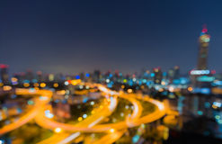 Twilight of Bangkok highway with defocused bokeh Stock Photography