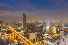 Twilight of Bangkok skylines with Chao Phraya river curve, Bangkok Thailand Royalty Free Stock Photography