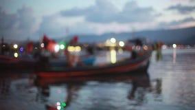 Twilight Beach Pier with blurred bokeh lights. 1920x1080. Hd stock footage