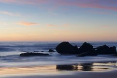 Twilight on the beaches of Roche in Cadiz. Sunset on the beach of Roche in Cadiz Royalty Free Stock Photos