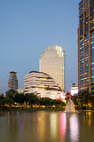 Twilight at Benjasiri Park in Bangkok. Stock Image