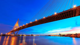 Twilight bhumibol bridge Stock Image