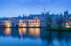 Twilight at Binnenhof palace, place of Parliament in The Hague. Royalty Free Stock Photos