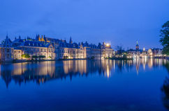 Twilight at Binnenhof palace, place of Parliament in The Hague Stock Images