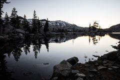 Twilight and Calm Lake in Desolation Wilderness Royalty Free Stock Image