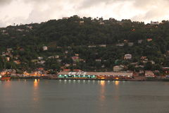 Twilight at Castries, Saint Lucia, Caribbean Island. City of Castries, the capital city of Saint Lucia. The ferry terminal and color buildings at downtown area Stock Photo