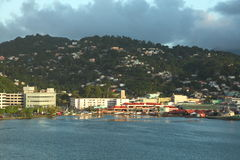Twilight at Castries, Saint Lucia, Caribbean Island. City of Castries, the capital city of Saint Lucia. The ferry terminal and color buildings at downtown area Royalty Free Stock Photo