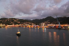 Twilight at Castries, Saint Lucia, Caribbean Island Royalty Free Stock Photos