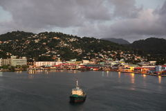 Twilight at Castries, Saint Lucia, Caribbean Island Royalty Free Stock Image