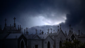 Twilight cemetery Stock Photography