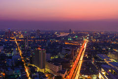 Twilight  and Chao Phraya River and  City View   , Bangkok in Th Royalty Free Stock Image
