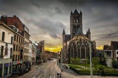 Twilight in Ghent. Twilight in city center of Ghent, Belgium Stock Images