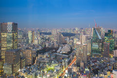 Twilight at City downtown Tokyo Japan Royalty Free Stock Photo