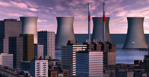 Twilight city with floods. Twilight clouds over the flooded city's cooling towers Stock Image