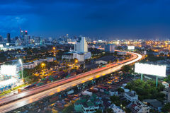 Twilight of City highway curved, long exposure Stock Images
