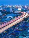 Twilight of city highway curved long exposure Stock Images