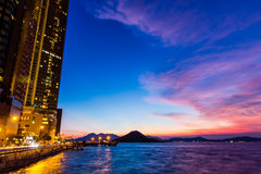 Twilight of city. In Hong Kong stock photo
