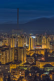 Twilight city lights in Brasov Stock Image