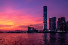 Twilight of City at waterfront Stock Image