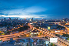 Twilight of cityscape overpass lights aerial view Royalty Free Stock Image