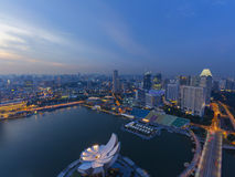 Twilight cityscape wide view of Singapore Royalty Free Stock Images
