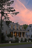 Twilight cottage. Expensive house at twilight with dramatic sky Royalty Free Stock Photography