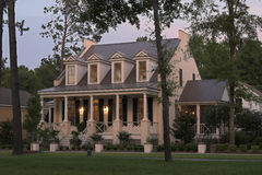 Twilight cottage. Expensive house at twilight with dramatic sky Royalty Free Stock Photos