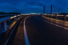 Twilight on the crossing over the Albert canal in Kanne stock images