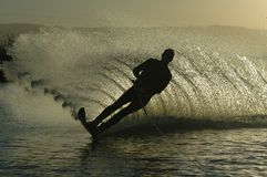 Twilight Dance. Water skier stock images