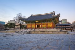 Twilight at Deoksugung Palace in Seoul, South Korea.  royalty free stock photography