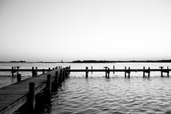 Twilight dock. Black and white of a dock in Swansboro, NC at twilight Stock Photography