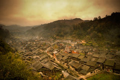 Twilight Dong minority village in China Stock Image