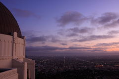 Twilight at Downtown Los Angeles. A view of downtown  Los Angeles during twilgiht Stock Images