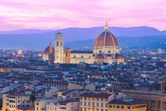 Twilight at the Duomo in Florence, Italy. Stock Photo
