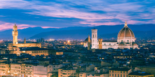 Twilight at the Duomo in Florence, Italy. Stock Photos